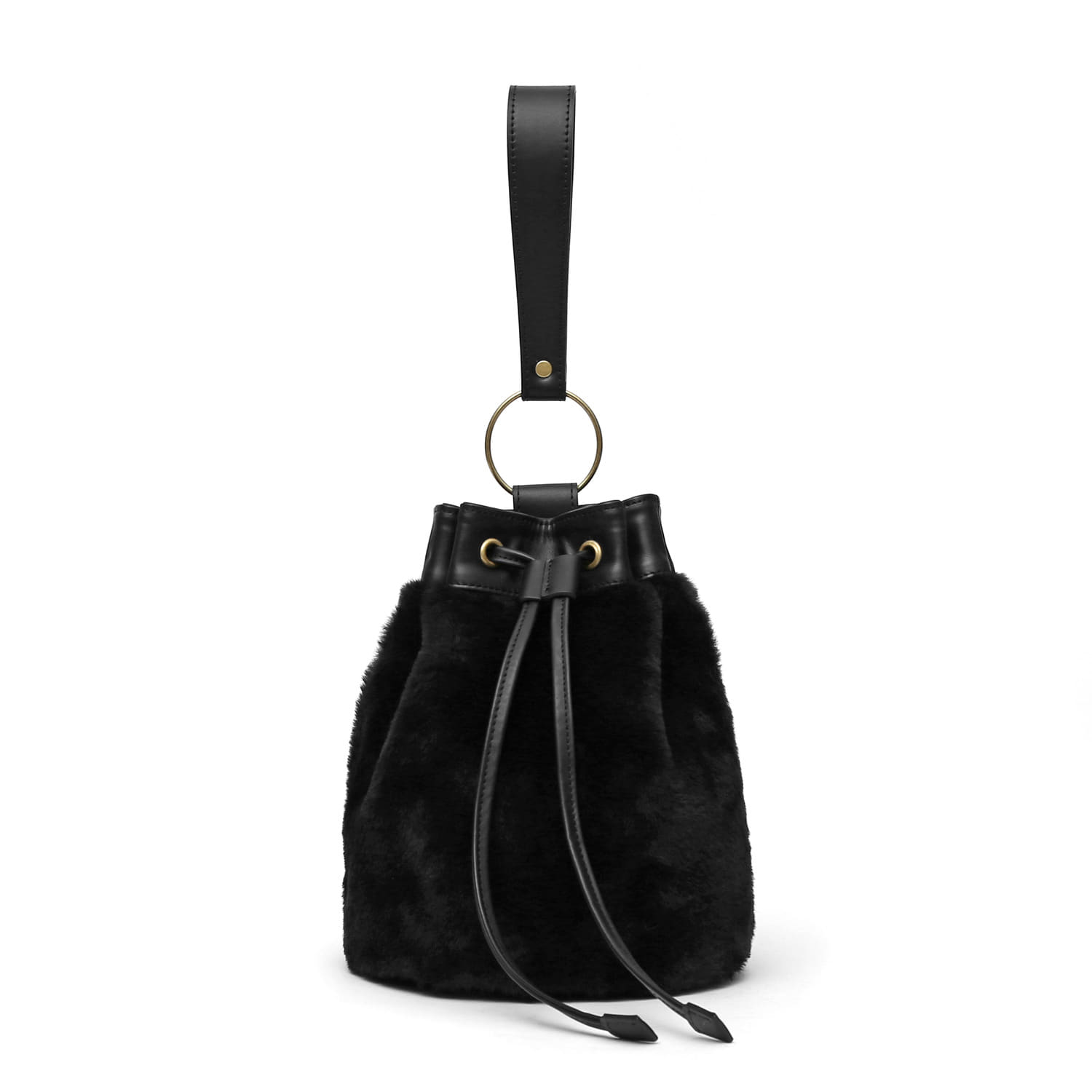 BOWL BAG / RING STRAP / FUR / BLACK